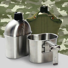 Military Stainless Steel Canteen & Cup Nylon Cover & Belt army mess kit Camping