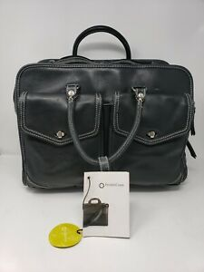 $199 Franklin Covey Jacqueline Leather Laptop Carry On Rolling Wheels Travel Bag