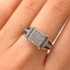 925 Sterling Silver C Z Grid Ring Size 6 1/4