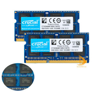 Crucial 16GB 8GB 2Rx8 PC3-12800S DDR3-1600Mhz SO-DIMM Laptop Memory RAM 204Pin