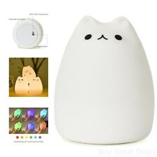 GoLine Cute Kitty Led Children Night Light Multicolor Silicone Soft Baby Lamp