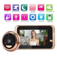 "4.3"" HD Wireless WiFi Video Doorbell Camera Intercom Door Phone Bell Peephole SS"