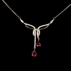 Pear Pink Topaz 8x6mm Cz 14K Rose Gold Plate 925 Sterling Silver Necklace 19 Ins
