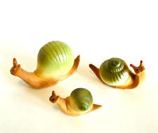 Snail Figurines Set of Three Shiken Japan Bone China Rare Green Shells