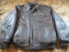 Snap On Tools Brown Leather Bomber Style Jacket with Quilted Lining -- X-Large