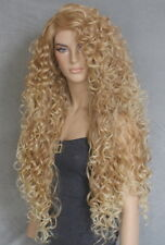 """40"""" Full Lace Front Wig Extra Long Blonde mix side part Heat oK Curly 27/613 DLH"""