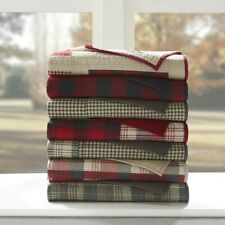 Woolrich Tasha Luxury Quilted Cotton Throw Blanket Plaid Premium Red Brown NEW