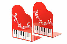 Heavy duty red metal music notation piano keyboard design bookends free postage