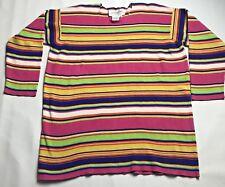 Vtg 80's Vittadini Sport Tunic Sweater Womens  Oversized M Cotton Pink Stripe