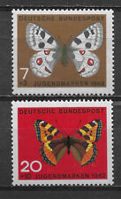 GERMANY, 1962 , BUTTERFLIES/BIRDS , SET OF 2 STAMPS , PERF , MNH