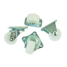 "4 Pcs Practical 1"" Plastic Wheel Rectangle Top Plate Fixed Swivel Caster Set DT"