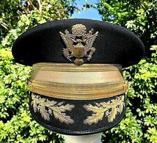 Vtg Us Army Colonel Officers Dress Black Wool scrambled eggs Visor Hat cap 7 1/2