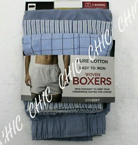 Ex M & S Mens 3 Pack Pure Cotton Woven Boxers Underwear Button Fly Light Blue