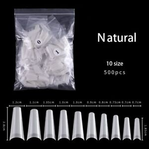 500pcs French Half Cover Fake False Square Nails Tips Acrylic UV Gel Manicure