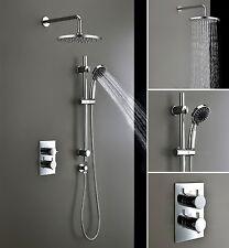 "Modern Thermostatic Shower System Set With 8"" Round Rainfall Head Hand Sprayer"