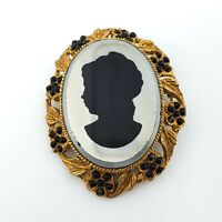 Vintage Estate Gold Tone Black Mirrored Glass Cameo Brooch Scarf Lapel Pin