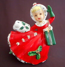 CHRISTMAS Vintage RELPO JAPAN Figurine Planter GIRL Shopping Muff Spaghetti RED