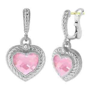Brand New Women's JUDITH RIPKA 18K Stone Heart Drop Earrings With Pink Crystals