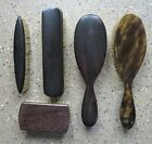 Collection+of+Five+Vintage+Wood+and+Faux+Tortoiseshell+Clothes+Brushes+2+x+Ebony