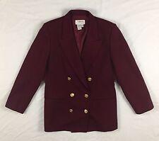 Vintage Talbots Wool Blazer Petite 10 Double Breasted Coat Maroon Burgundy Wine