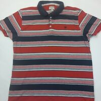 Next Mens Navy/Red Striped Casual Polo shirt Size Large 100% Cotton