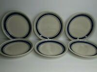 "Tienshan Stoneware Country Crock Set of 6 Salad Plates 7 3/4"" with Blue Bands"