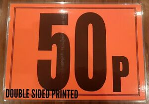 Market Stall Display Sign Card A4 Size Double Sided