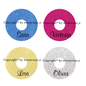 12 Personalised Glitter GOLD BLUE PINK SILVER Wine Glass Tag Place Card Name