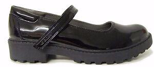 Geox J Casey Black Patent Chunky Ballerina School Shoes