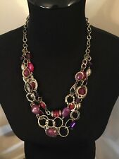 Carol Dauplaise Necklace Purples Beads Gold Tone Multi Strand