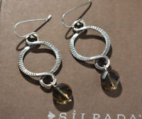 Silpada Sterling Silver Faceted Brown Smoky Quartz Dangle Earrings W1485