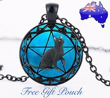 Blue Pentagram Wicca Witch Black Cat Magic Glass Cabochon Pendant Necklace Gift