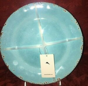 Tommy Bahama Set of  4 Aqua Blue Crackle melamine Salad Plates New