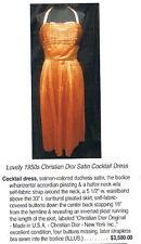 50s VINTAGE FABULOUS CHRISTIAN DIOR DUCHESS PLEATED SATIN MARILYN DRESS w BRA