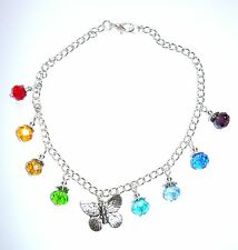 Pretty Anklet With Silvery Butterfly & Rainbow Colours Abacus Bead Drops