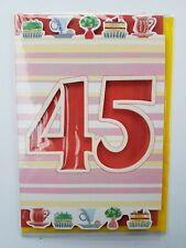 NEUF CARTE ANNIVERSAIRE 45 ANS + ENVELOPPE !! 10 CARTES ACHETEES = PORT GRATUIT