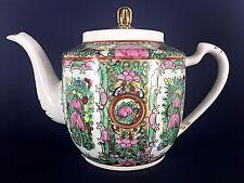 Vintage Japanese White Porcelain Green Pink Floral Gold Trim 5 Cup Tea Pot