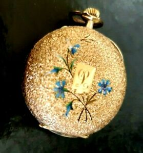 "14K  SOLID Gold LADIES SWISS VICTORIAN  Pocket Watch Wonderful Engraved Case ""L"""