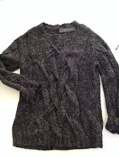 THEORY Theyskens Mohair Blend Cable Sweater Speckled Gray Black  NWT $375 M