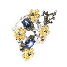 925er Silber Ring Weiß/ Schwarz/ Gelbgold beschichtet Blau Sternsaphir & Saphir