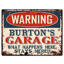 PPFG0570 WARNING BURTON'S GARAGE Tin Chic Sign Home man cave Decor Funny Gift