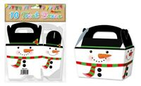 10 Snowman Treat Boxes - Christmas Gift Party Kids Cupcake Xmas Wrapping Bag