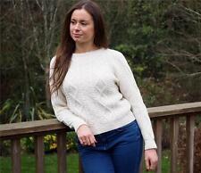 Ladies 100% Merino Wool, Crew Neck, Aran Pattern Jumper/Sweater, Made in England