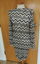 Ladies ZARA DRESS Size 10 12 Open Knit Dress Size 10 12 Black cream Wiggle