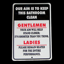 Our Aim is to Keep Bathroom Clean Tin Sign Funny Home Bar/Pub/Tavern Wall Decor