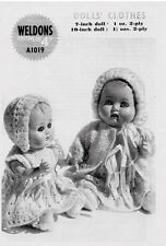 "VINTAGE KNITTING PATTERN COPY - DOLLS LATE 1940's - FOR 7""&10"" DOLLS"
