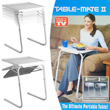2 x ADJUSTABLE FOLDING TABLE TV DINNER LAPTOP TABLE MATE TRAVELLING TRAY DESK