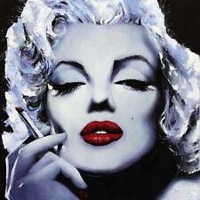 Edición enmarcado impresión arte Pop Erotico Marilyn Monroe fumar 40x40 Rojo Lápiz Labial