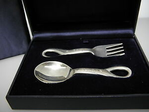 "Elsa Peretti Tiffany & Co.Baby Fork and Spoon Set Engraving ""Lucas"""