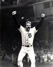 Kirk Gibson Tigers 1984 World Series Home Run Celebration, 8x10 B&W photo